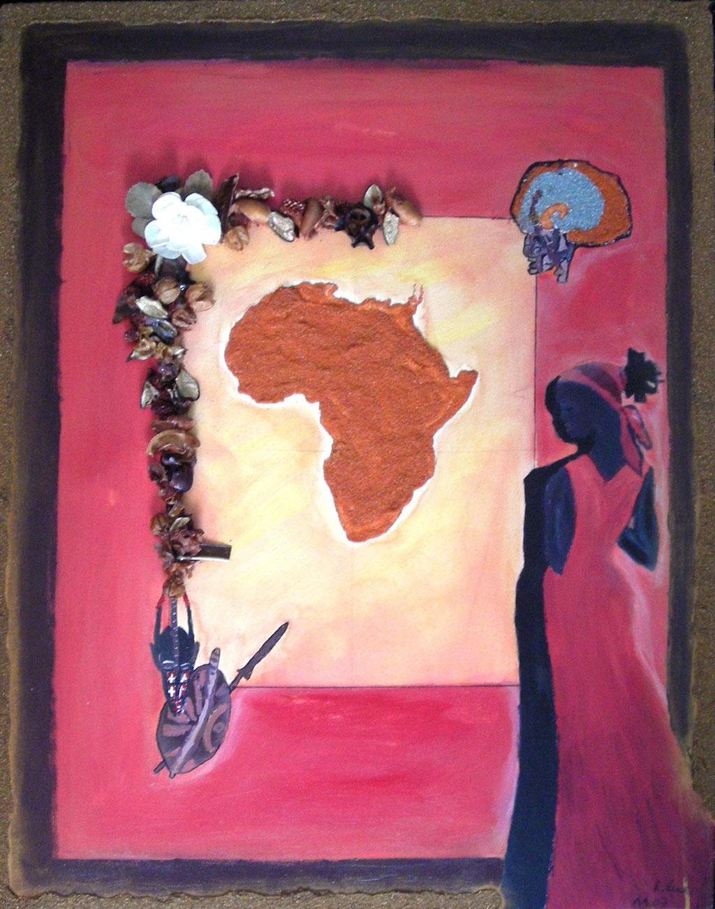 BLICK AUF AFRIKA   Acrylcollage 2007   60x80 cm