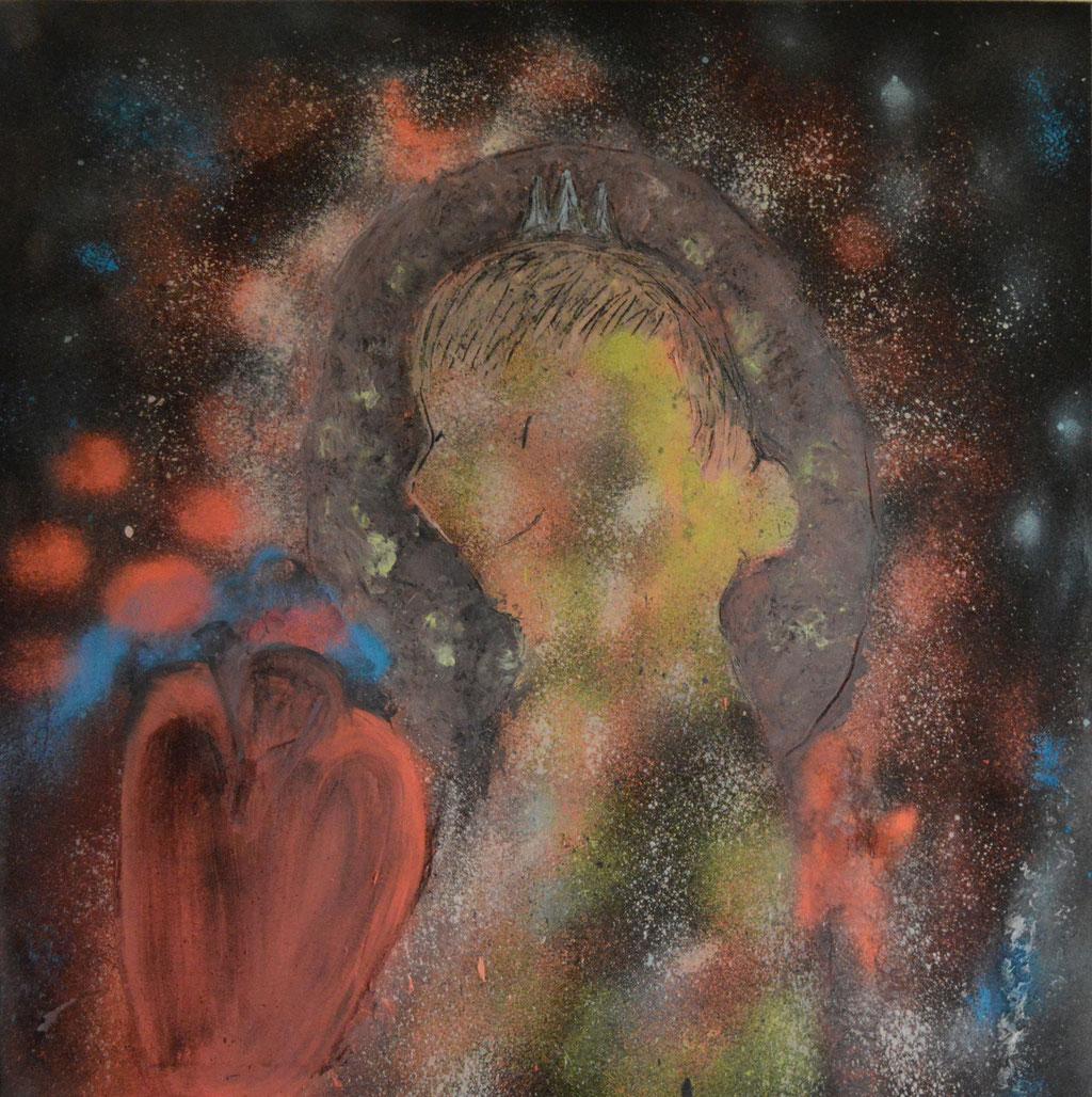 Der kleine Prinz-Kreide/Acryl 2016-100x100 cm-100 €