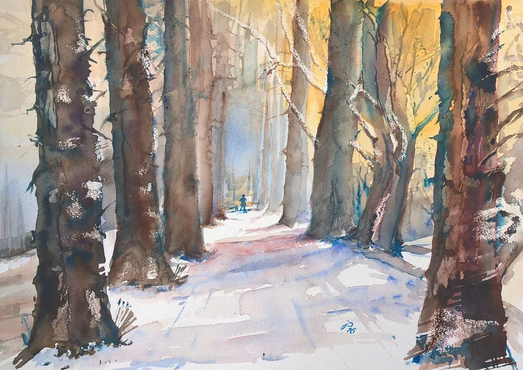 Winterspaziergang-Aquarell 2016-35x50 cm-150 €