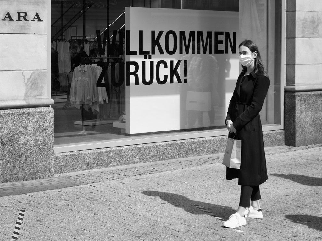 04.05.2020 Vor dem ZARA-Geschäft in der Osterstraße