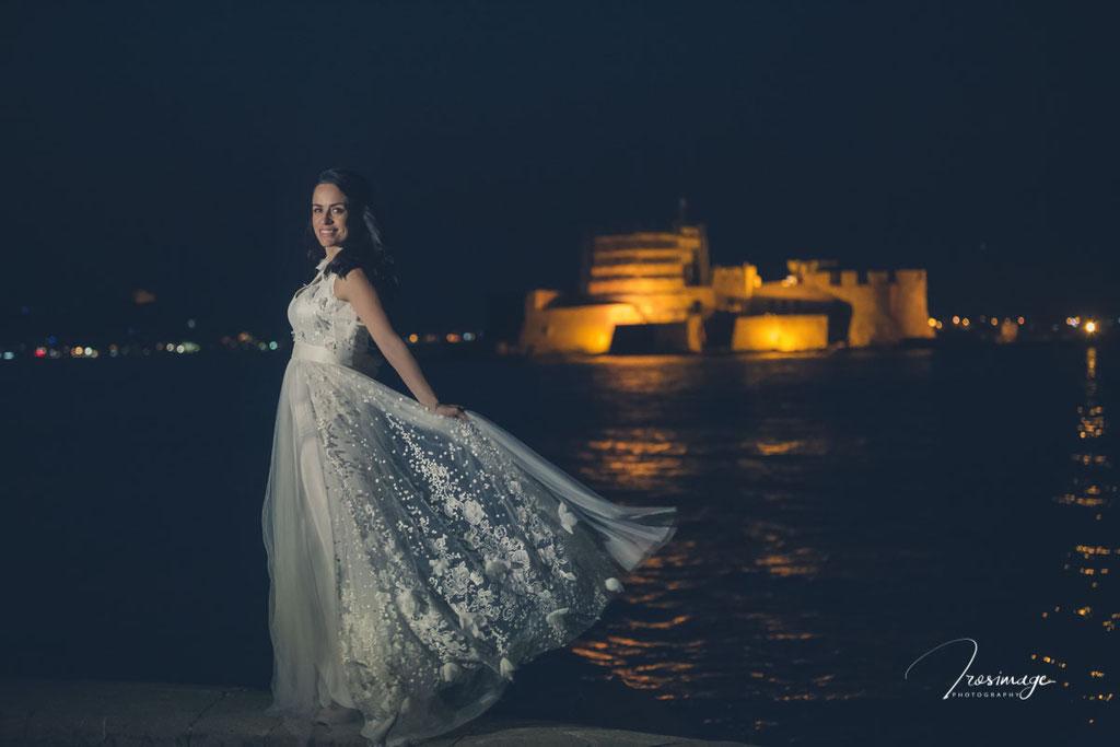 μπουρτζι ναυπλιου νυχτερινη φωτογραφηση νυφικο
