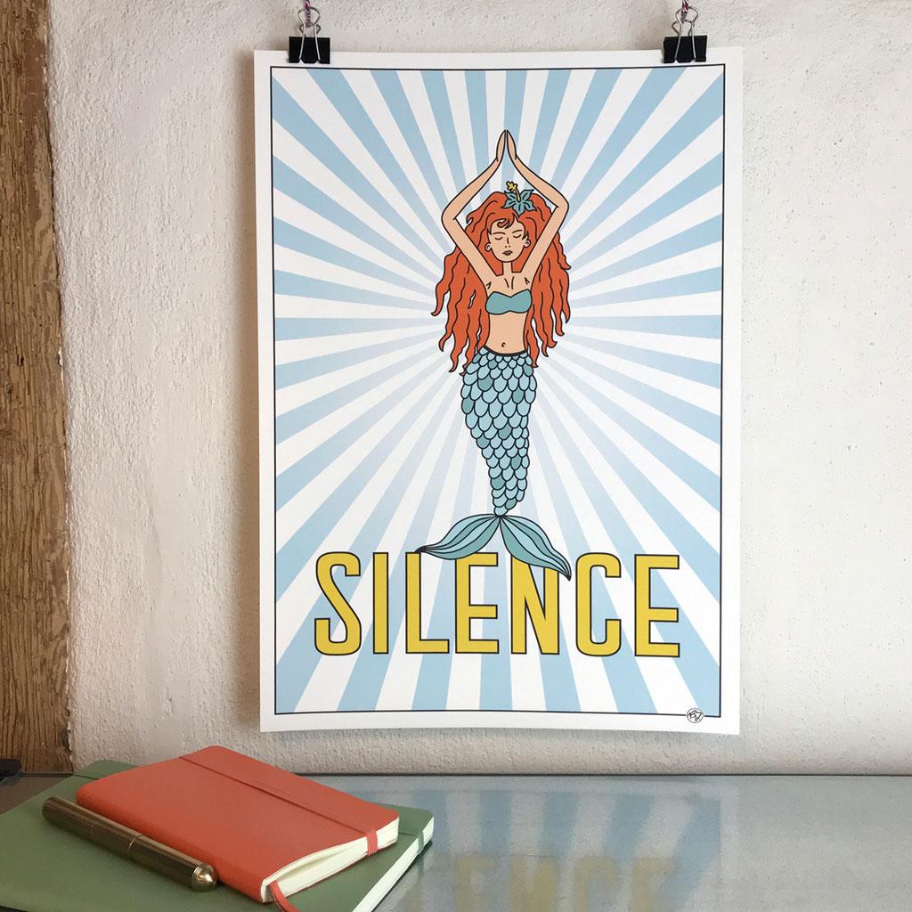 Fineart Print Meerjungfrau Silence - Mermaid - Kunstdruck von Brigitte Jaggi Schriftenmalerei