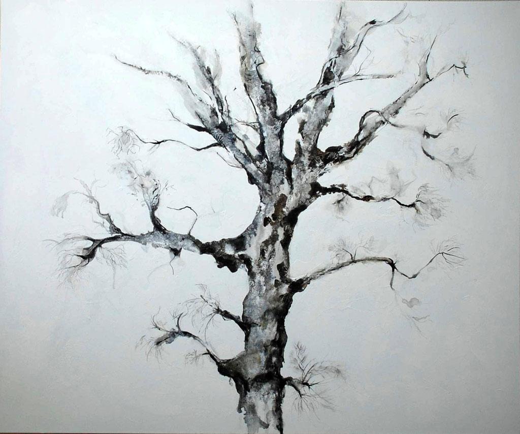 Le chêne - acrylique et encre de chine - 100x120