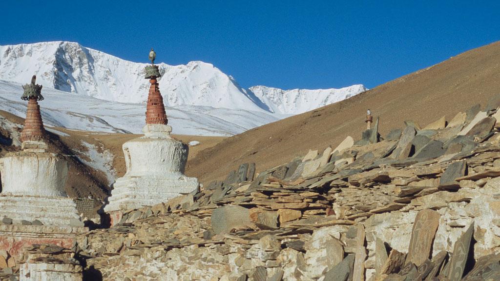 Gebetsmauer beim Kloster Korzok im Osten Ladakhs