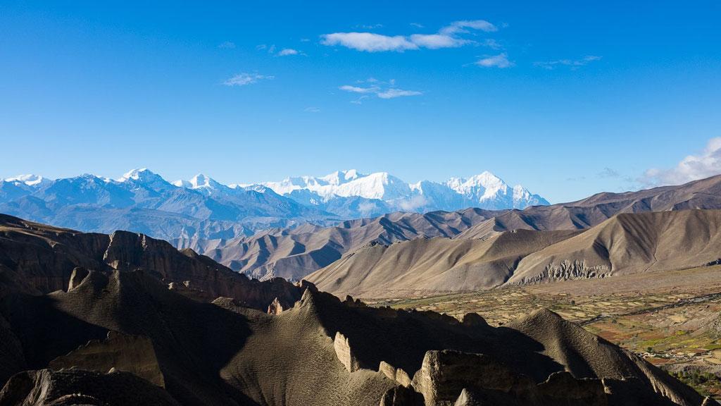 Blick über das ehemalige Königreich Mustang Richtung Annapurna