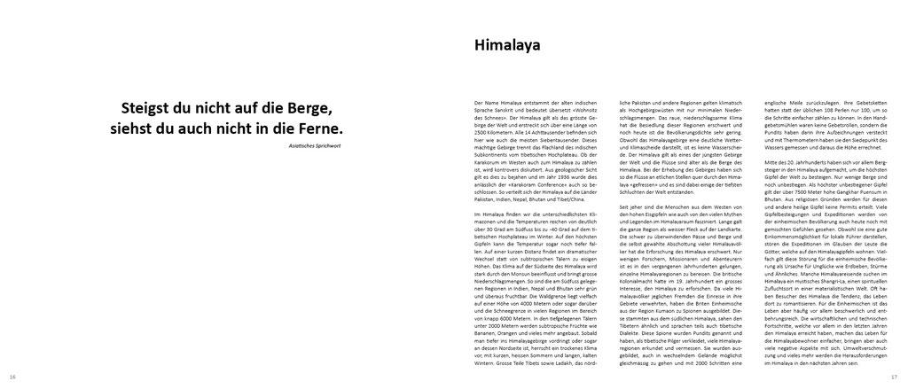 Himalaya Bildband, Text über den Himalaya