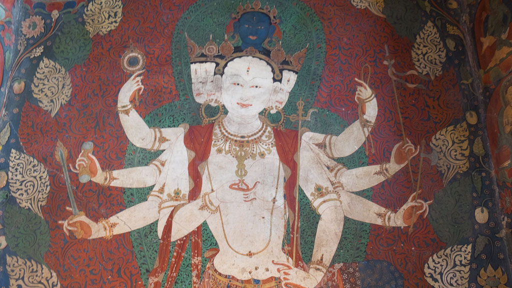 Alte Wandmalerei in einem Kloster in Tibet