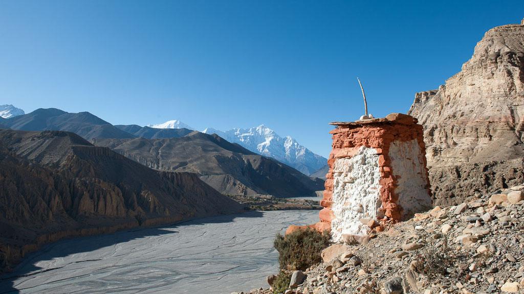 Blick von Chele auf das Massiv der Annapurna