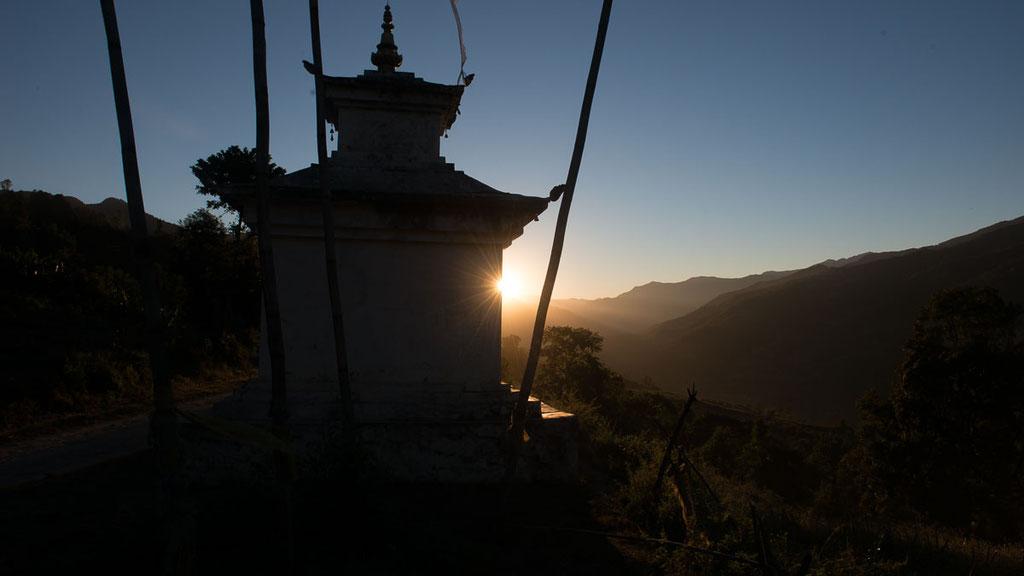 Chörten im Tal von Tang in Bumthang, im zentralen Bhutan
