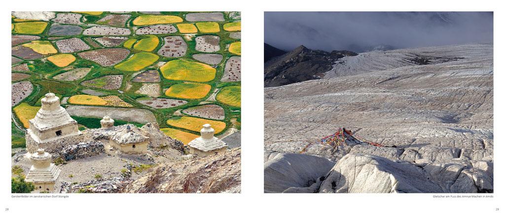 Himalaya Bildband, Felder in Zanskar und Gletscher am Amnye Machen in Amdo