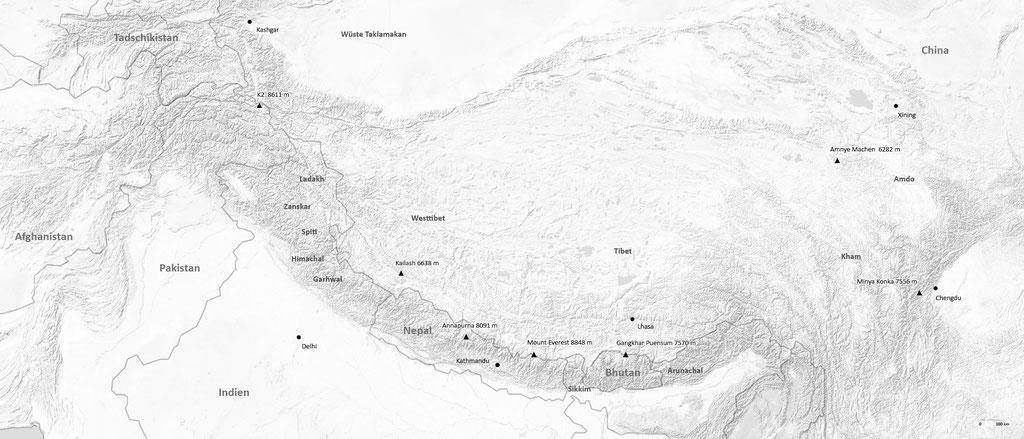 Himalaya Bildband, Übersichtskarte Nepal, Tibet, Ladakh, Bhutan, Amdo und Kham
