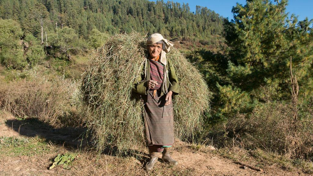 Bauernfrau im Tal von Tang in Bumthang