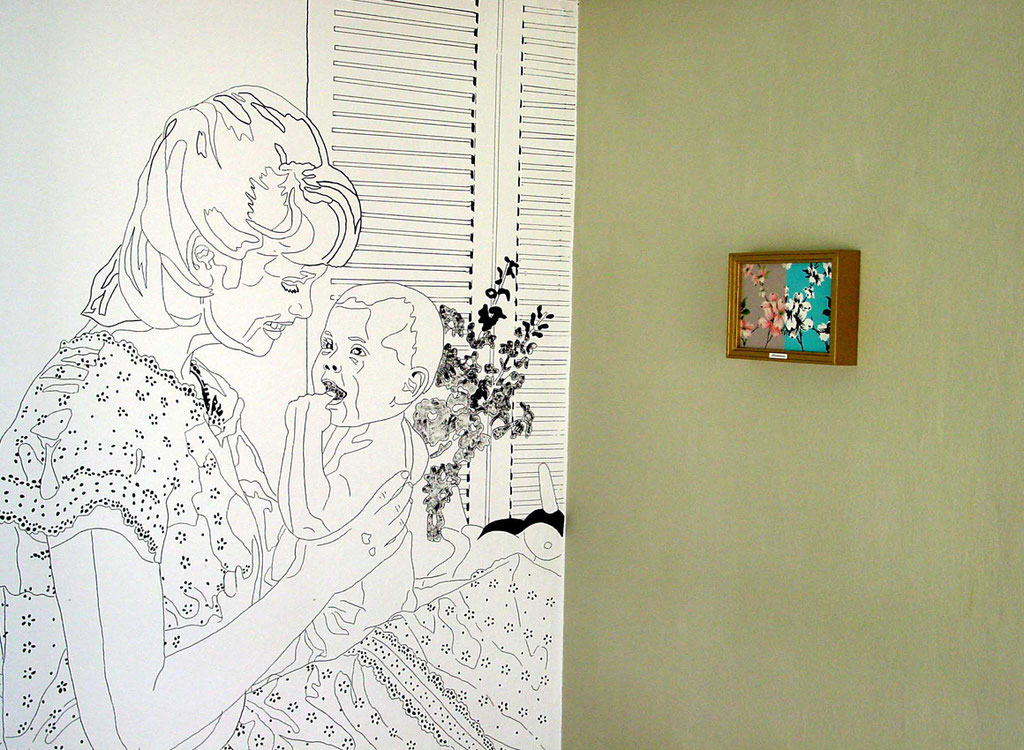 """A part of installation """"Harmony house 2"""", 1999: """"Young mother with child"""", acrylic and india ink on rough wallpaper, wall color, lacquer picture, wood frame, gold lacquer, plastic sign"""