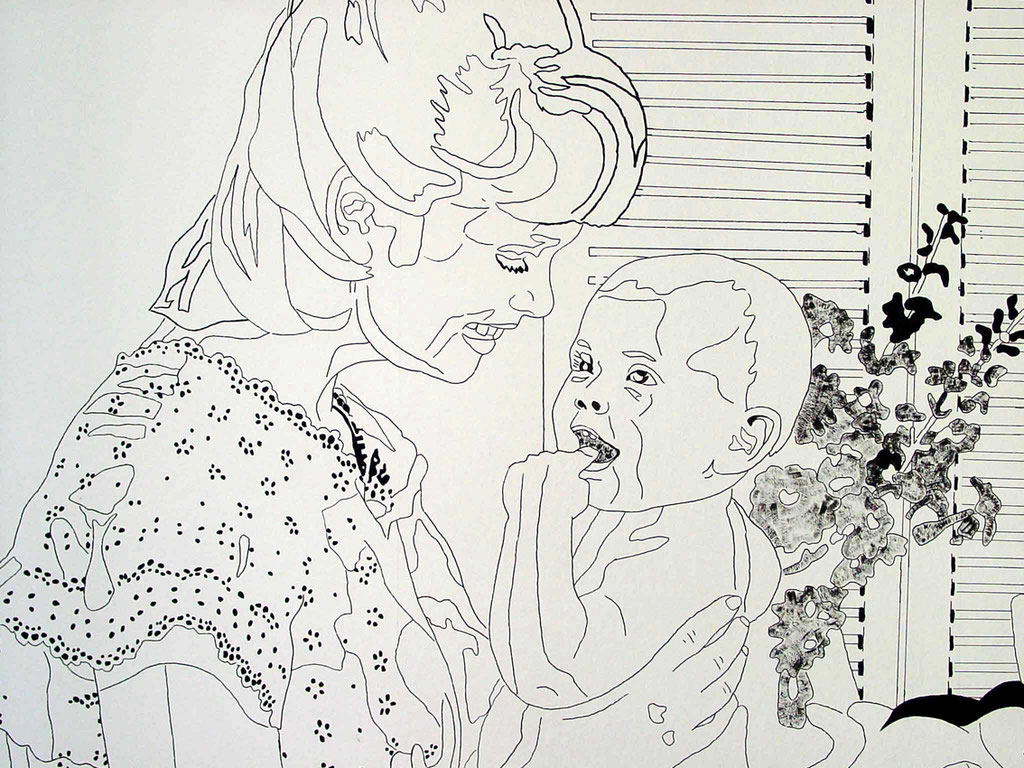 """A part of installation """"Harmony house 2"""", 1999: """"Young mother with child"""" (detail), acrylic and india ink on rough wallpaper"""