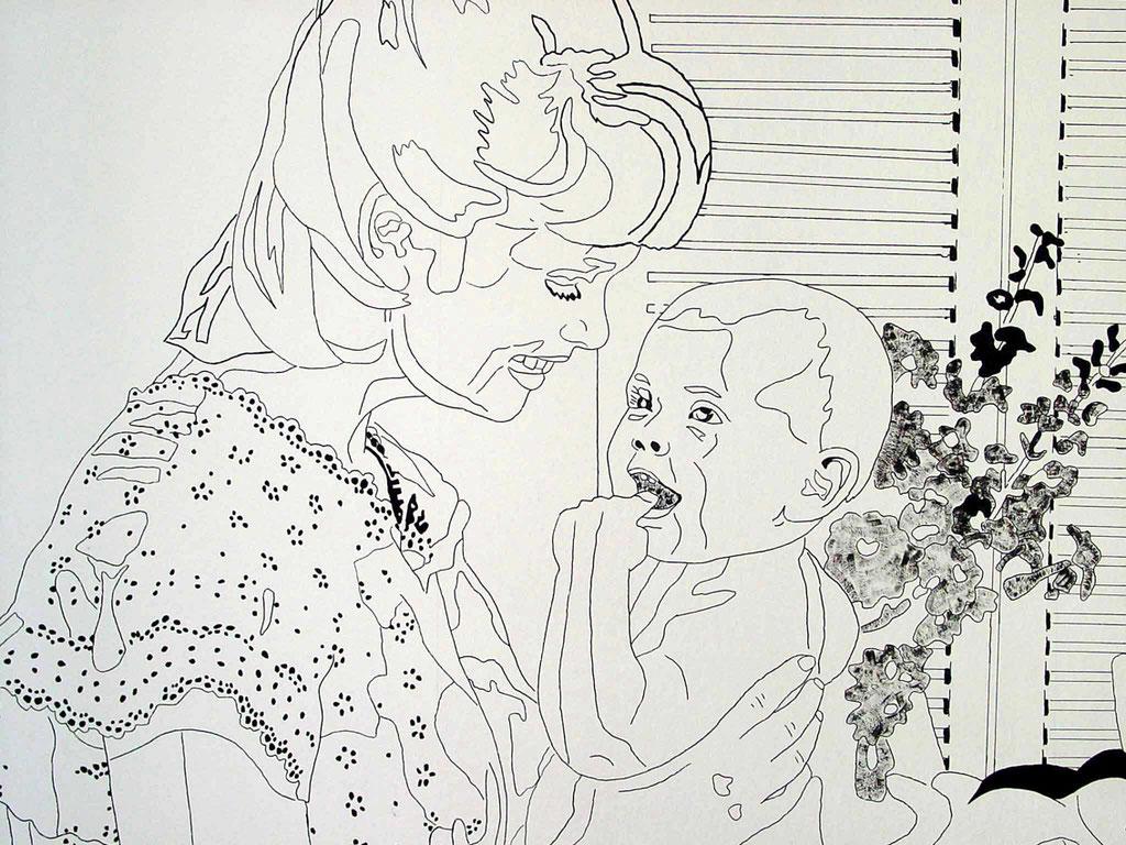 """Wandinstallation """"Harmony house 2"""" (Deitail), 1999: JUNGE MUTTER MIT KIND, Acryl und Edding auf Rauhfaser"""