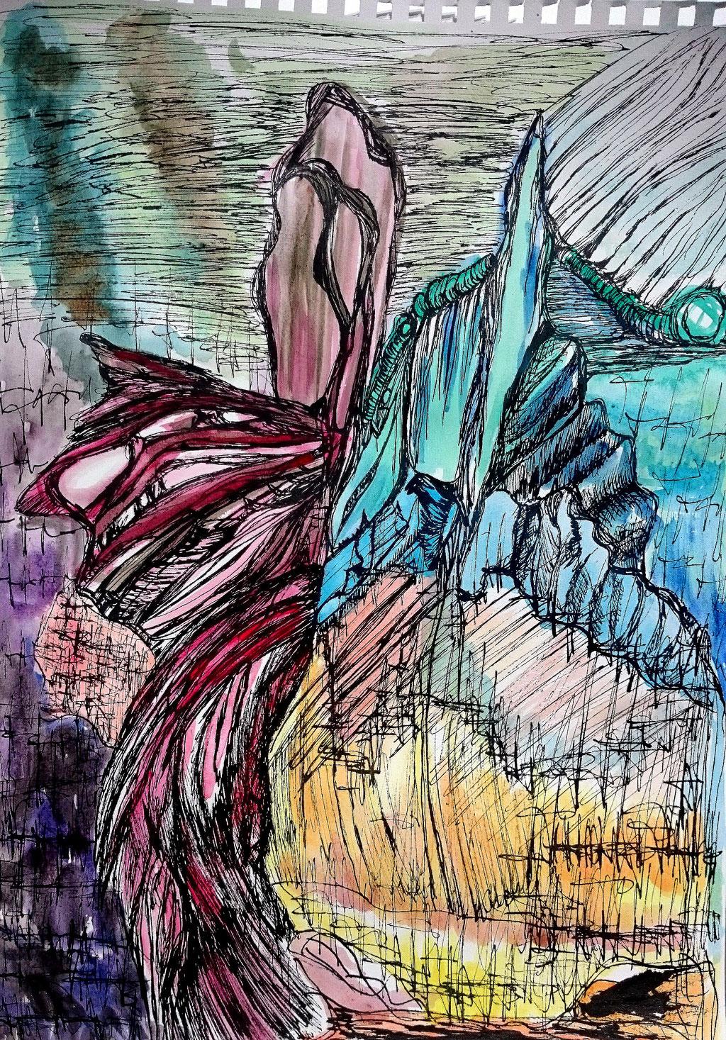 """""""Diva arriva"""", Tusche und Aquarell auf Papier, 40x30 cm"""