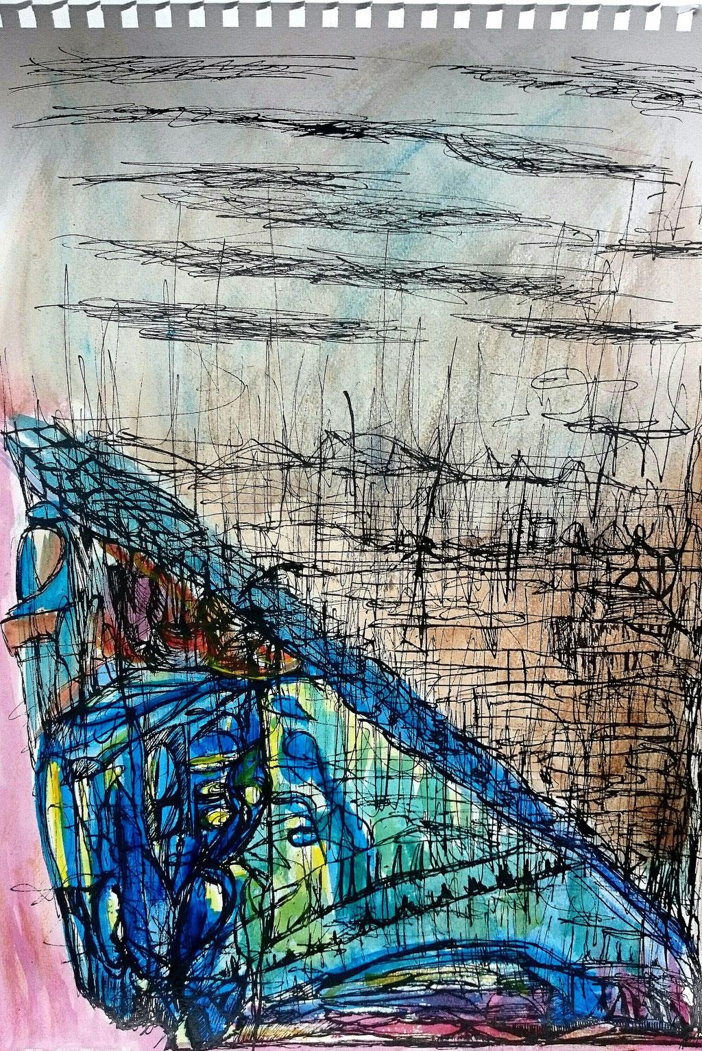 """""""Drinnen gibt es kein schlechtes Wetter"""", Tusche und Aquarell auf Papier, 40x30 cm"""