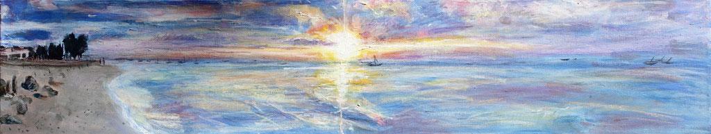 """Sonnenuntergang Nungwi Beach"", Mixed Media auf Leinwand, 20x100 cm"