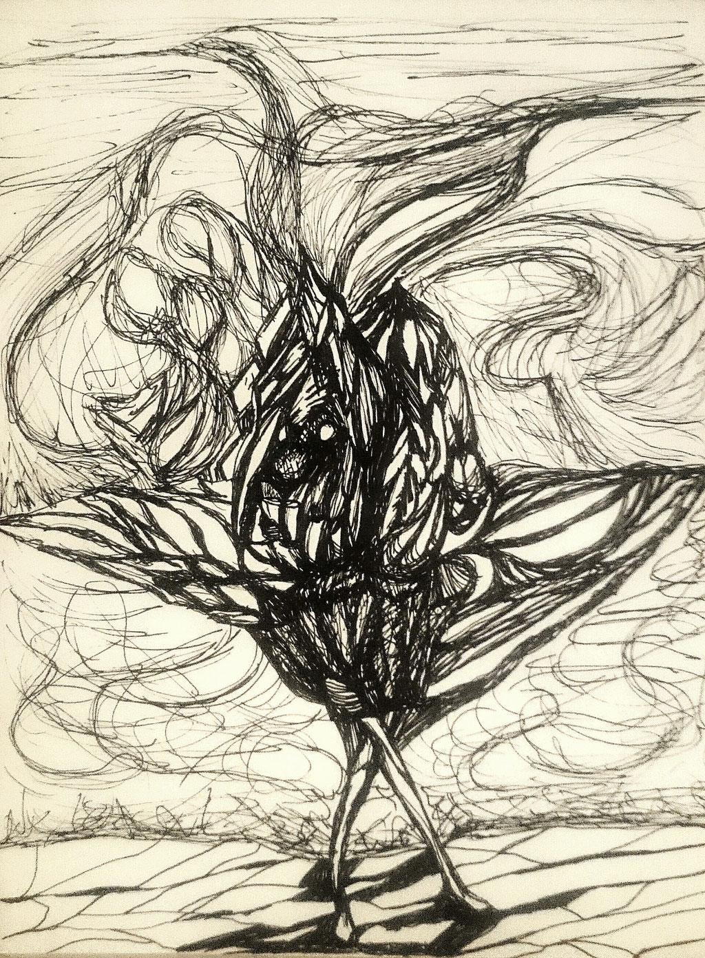 """""""Galina"""", Gelstifte auf Papier, 32x23 cm"""