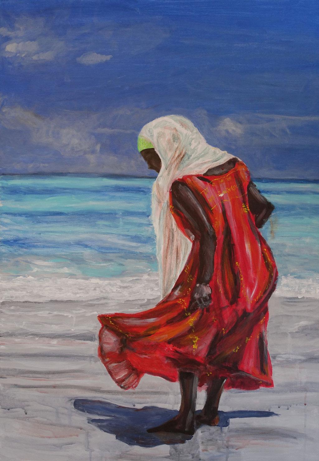 """VERKAUFT/SOLD """"Fatuma"""", Acryl auf Leinwand, 100x70 cm"""