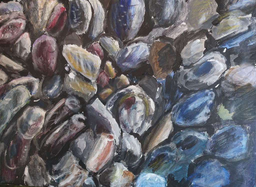 """""""Beach Pebbles Australia"""", Acryl auf Leinwand, 30x40 cm"""