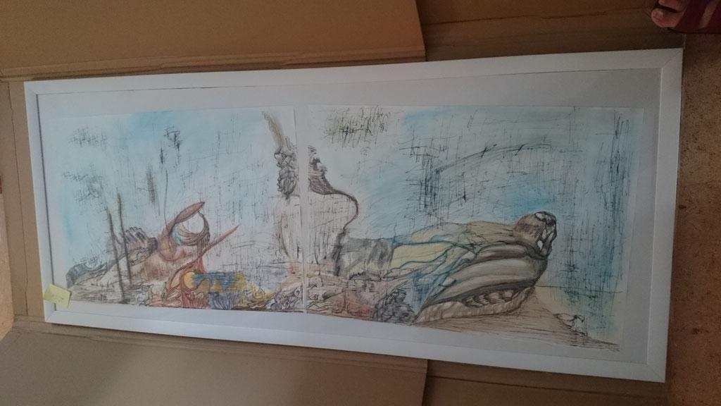 """""""Tonspur"""", tusche und Aquarell auf Papier, 150x60 cm"""