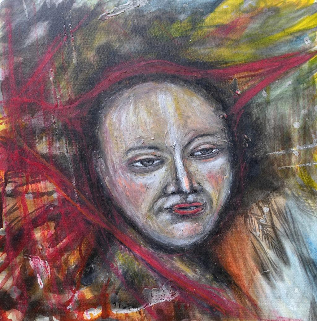 """Personal Branding"", Mixed Media auf Malpappe, 40x40 cm"