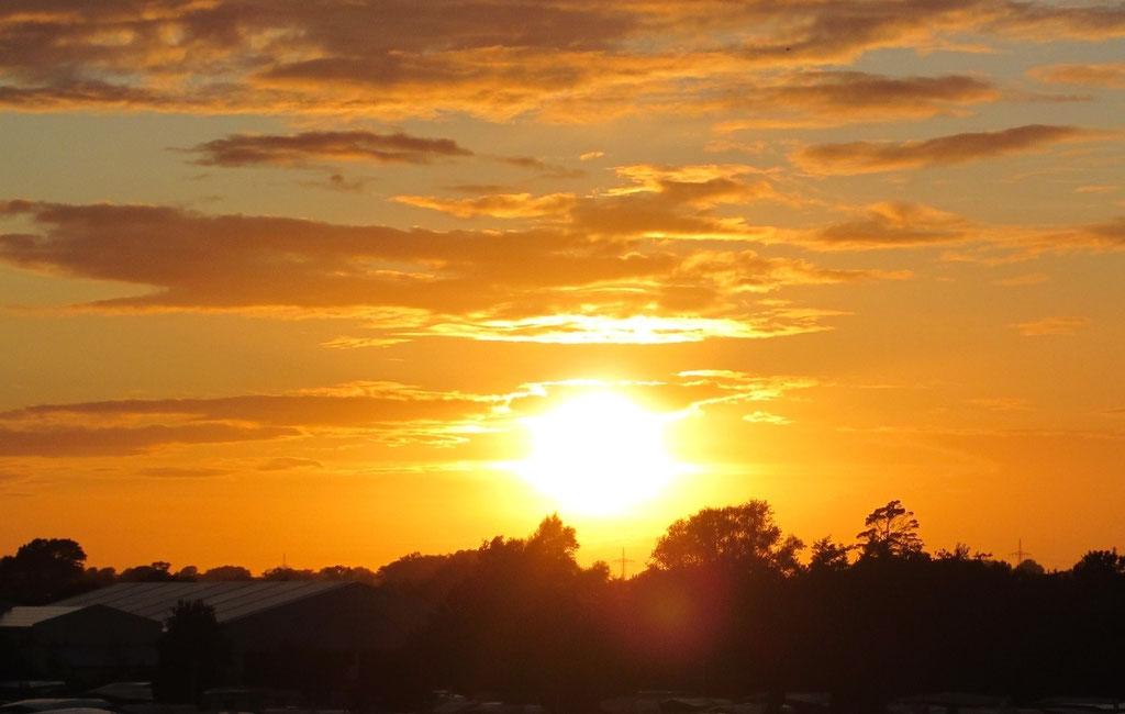 Blick von der Loggia bei Sonnenuntergang