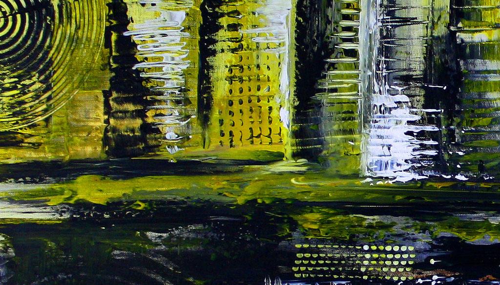 Abstraktes Wandbild gelb grau XXL - abstrakte Kunst querformat