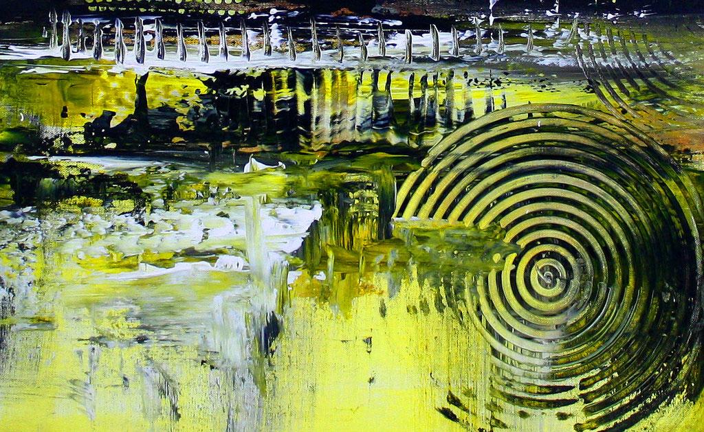 Abstraktes Wandbild gelb grau XXL - abstrakte Kunst