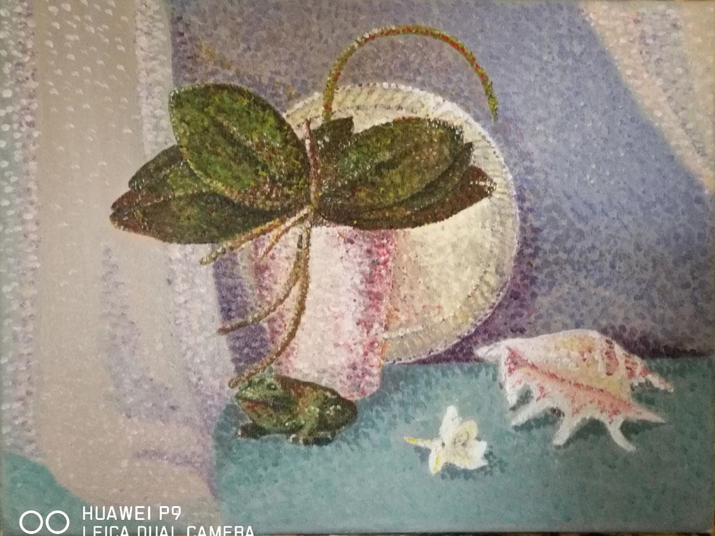 Stillleben mit Orchidee, Acryl, 30x40, € 90,00