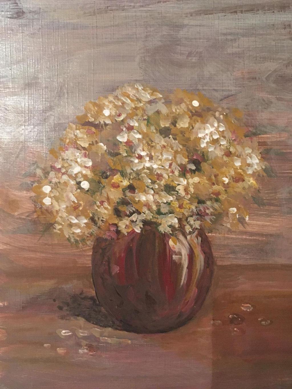 Blumen im kleinen Topf, Acryl, 30x40, € 120,00