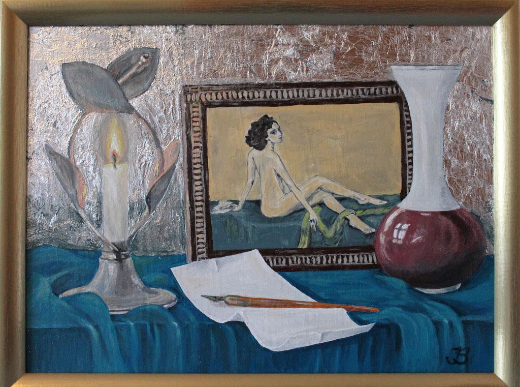 «Ida», Acryl  und Silberblatt, 30x40, € 200,00