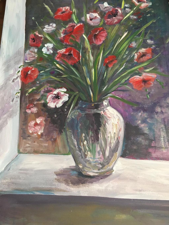 Blumen im Mondlicht, Acryl, 50x70, € 230,00