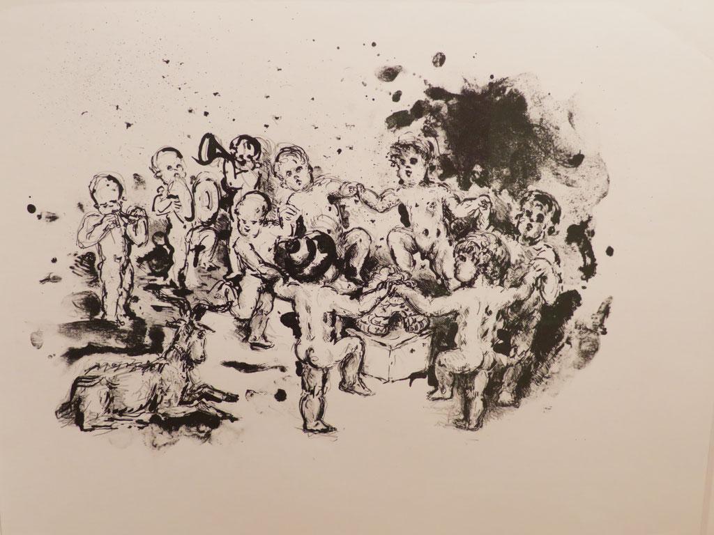 Tanz um den Bienenkorb 1981, Lithographie, 38 x 49 cm