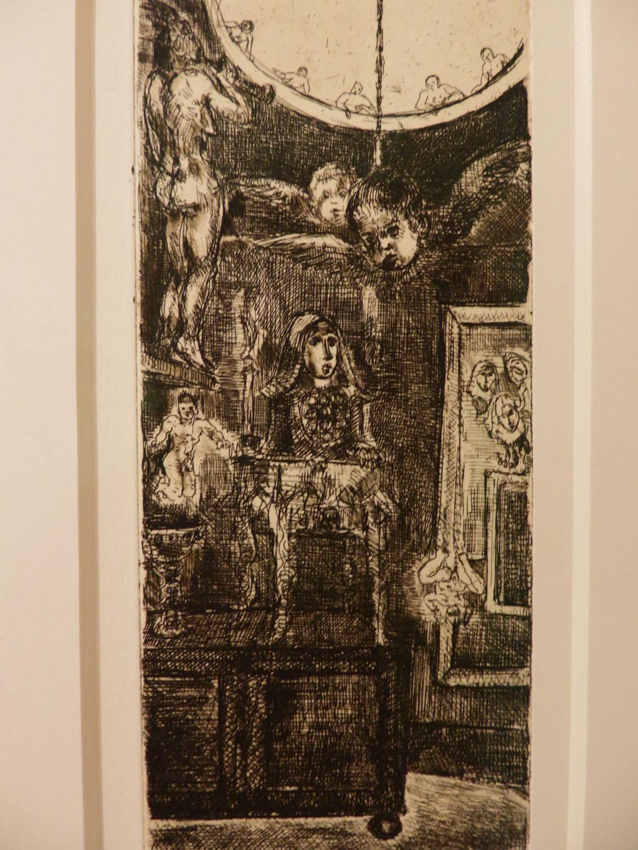 Absturz 2000, Radierung, 19 x 8,5 cm