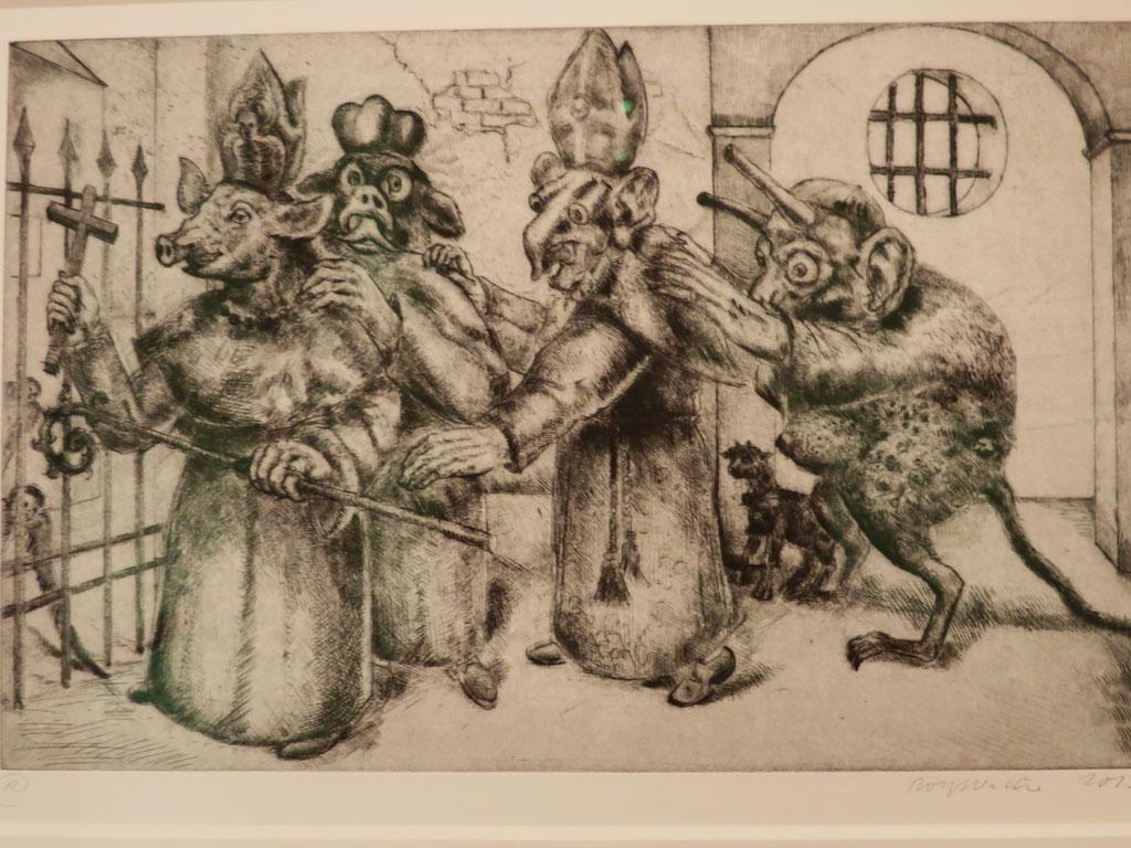Die guten Freunde 2. Fassung von 2013, Kaltnadel 20,3 x 32,5 cm