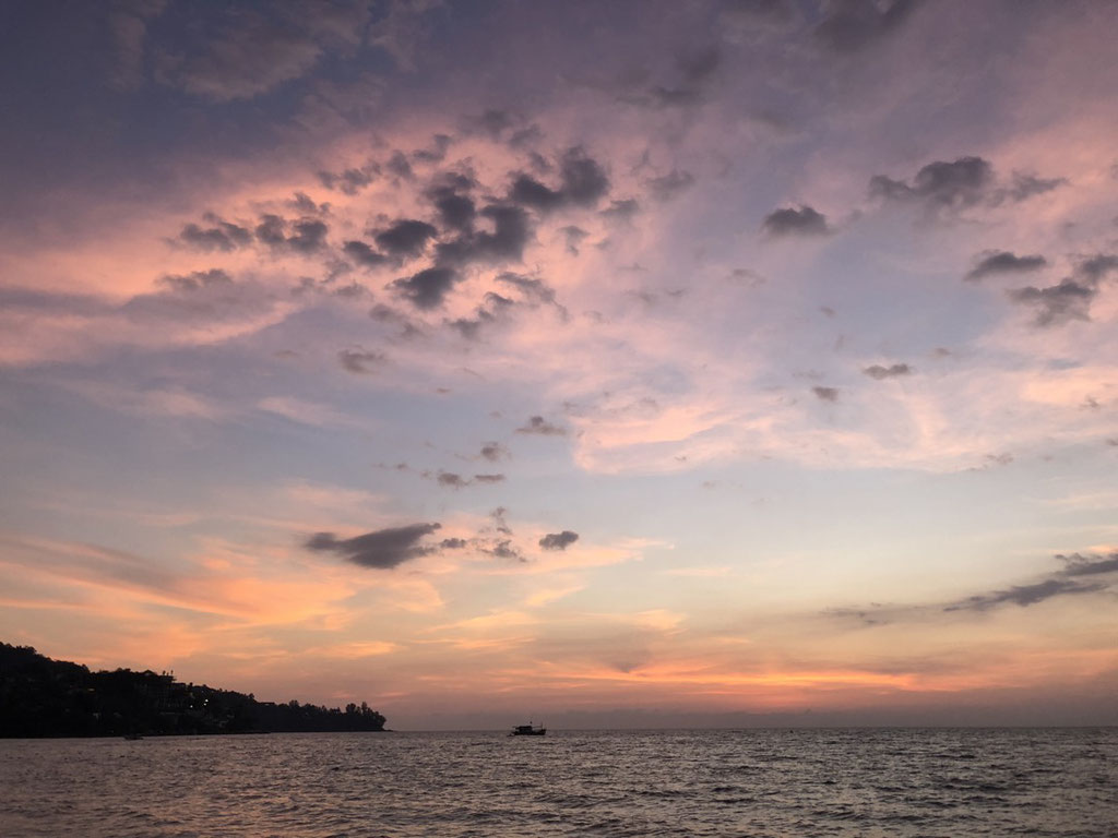 Right after sunset at the beach in Kamala, Phuket (Thailand)