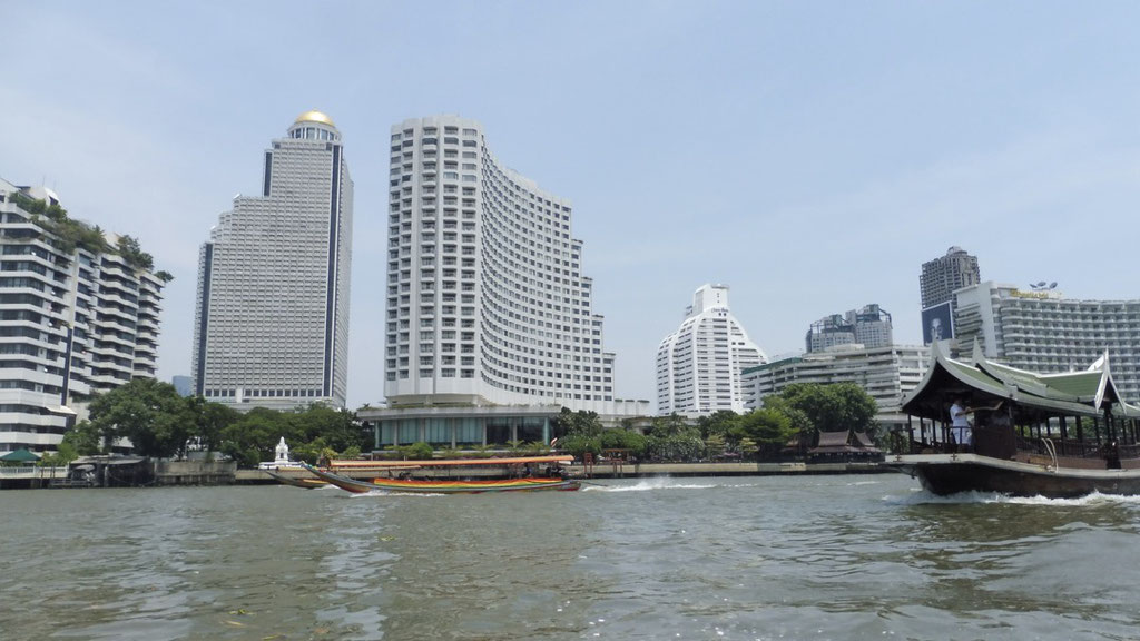 Beautiful skyline from the Chao Phraya River in Bangkok, Thailand
