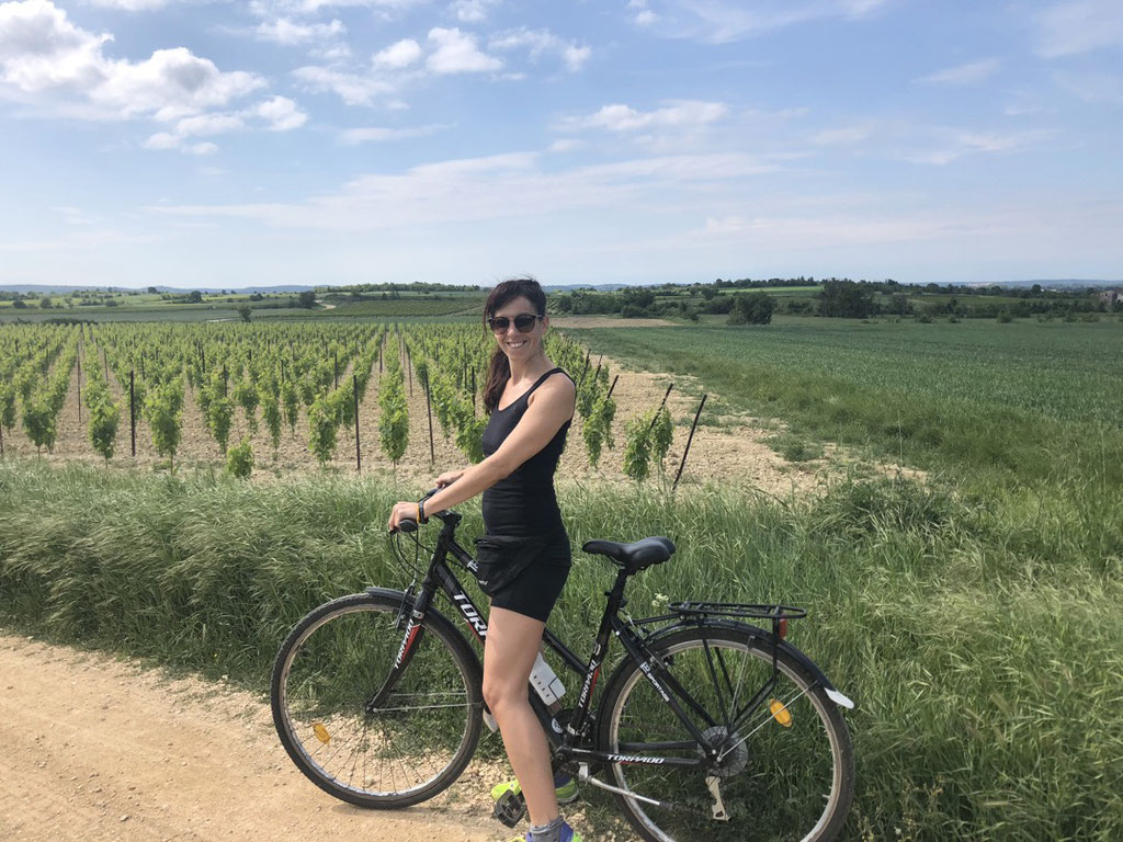 Riding the bike with Lorenz through the beautiful wine yards near Bourdic, South of France