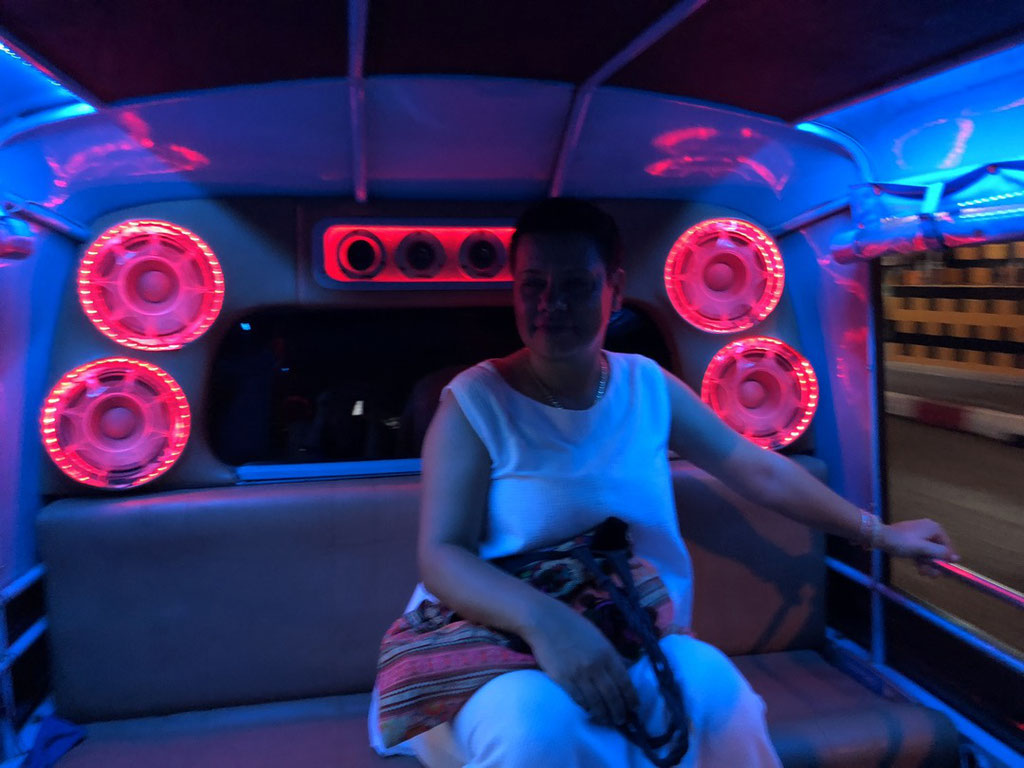 Mihaela riding a Tuk Tuk in Phuket (Thailand) late at night - music on full volume