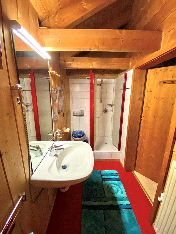 Badezimmer mit Dusche, Lavabo, Toilette