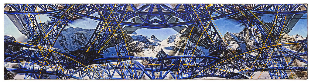 STEEL BLUE SKY (2015, 1/8, 140x35cm, MP0152, Photographien, Inkjet-Pigmentdruck auf Leinwand, Acryl) © Michael Pfenning. Verkauft/Sold: 1 von 8