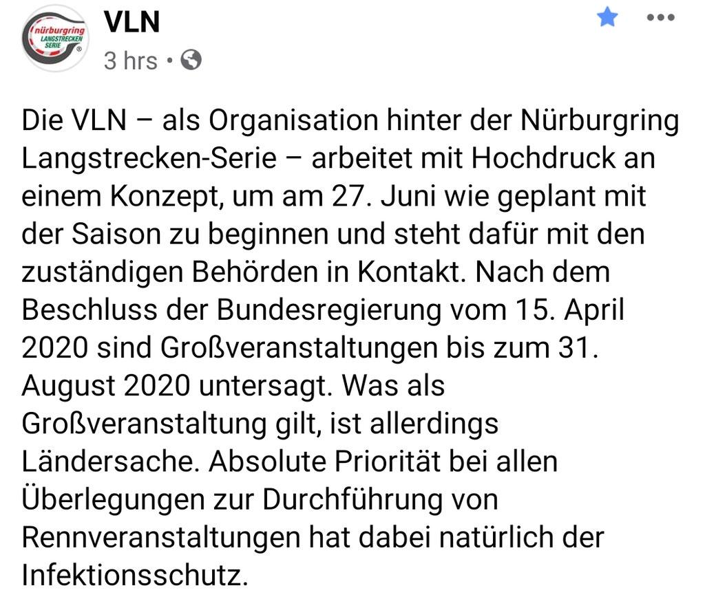 Bild: Screenshot Facebookseite VLN