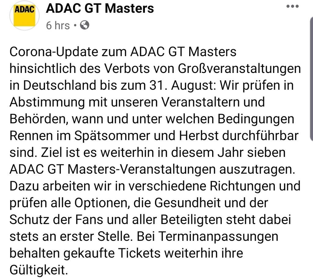 Bild: Screenshot Facebookseite ADAC GT Masters