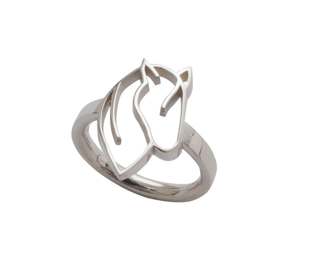 Ring mit Pferdekopf aus 925 Sterlingsilber, 180 Euro