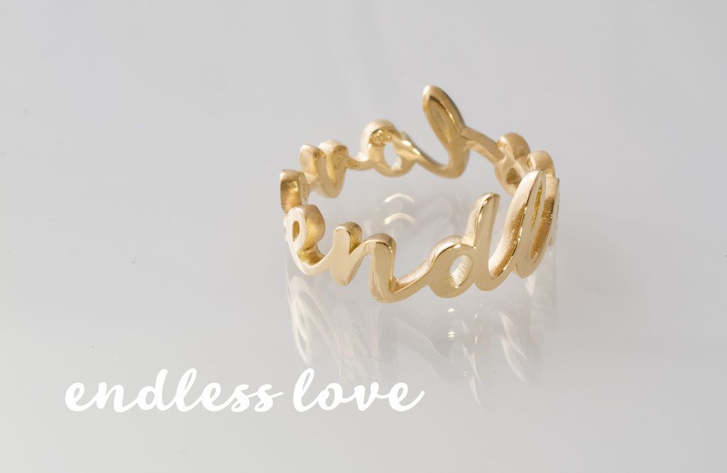 """endless love"" Ehering, 18 karat Gelbgold"