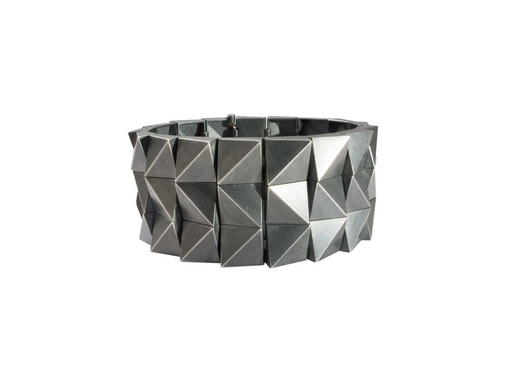 dreireihiges Armband aus geschwärztem 925 Sterlingsilber