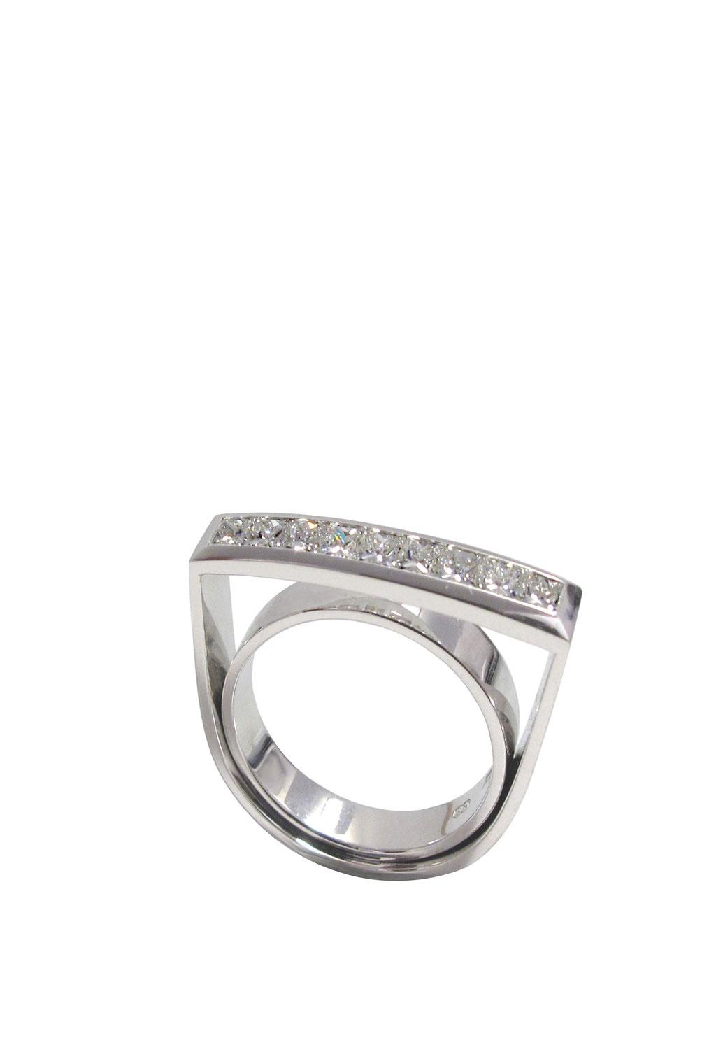 Diamantring 1,05 carat Diamanten im Prinzessschliff, 18 karat Weißgold