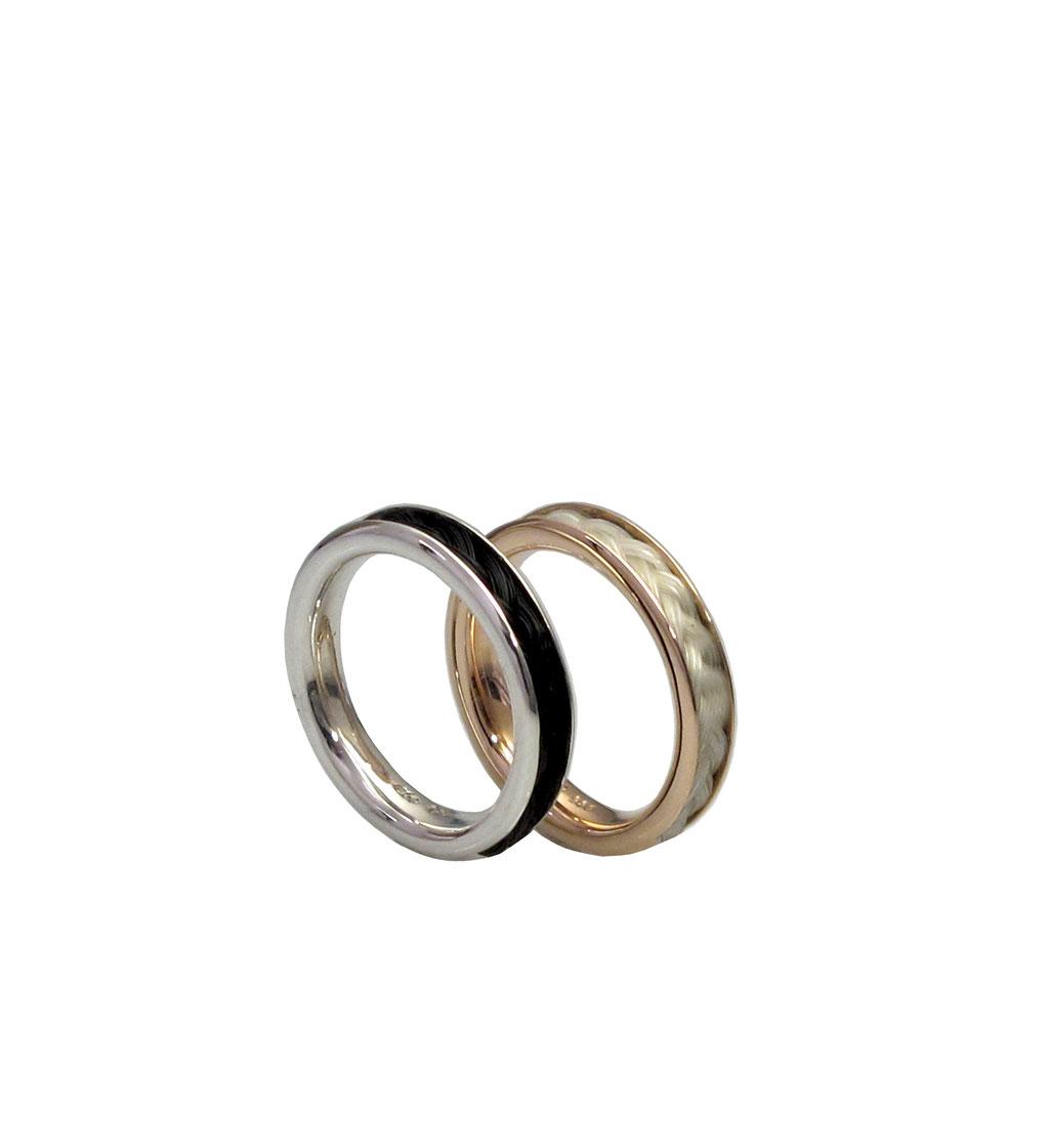 Ring aus 925 Sterlingsilber mit eingearbeiteten Pferdehaaren ab 250 Euro